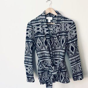 H&M Black & White Aztec Style Belted Jacket